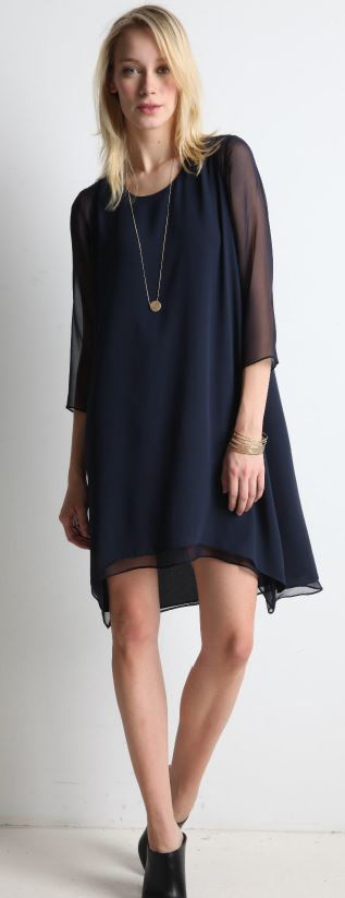 Black sheer sleeve dress
